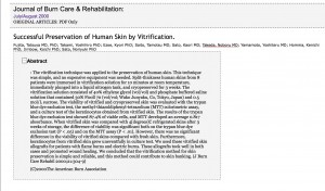 Successful Preservation of Human Skin by Vitrification. : Journal of Burn Care & Research